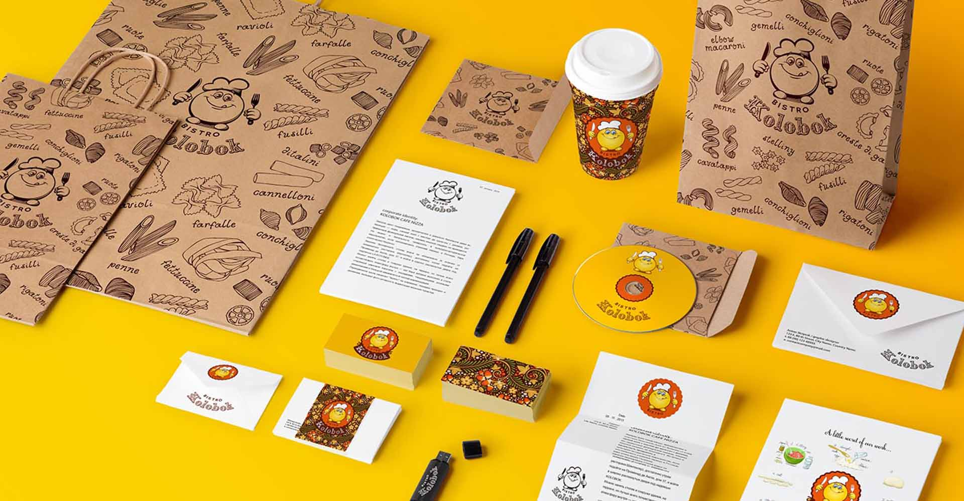 «Kolobok» - bistro logo and corporate identity design