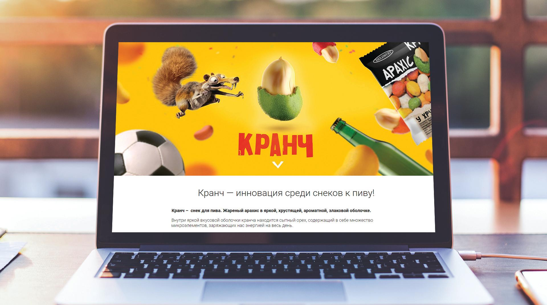 Дизайн of the website для снеков к пиву