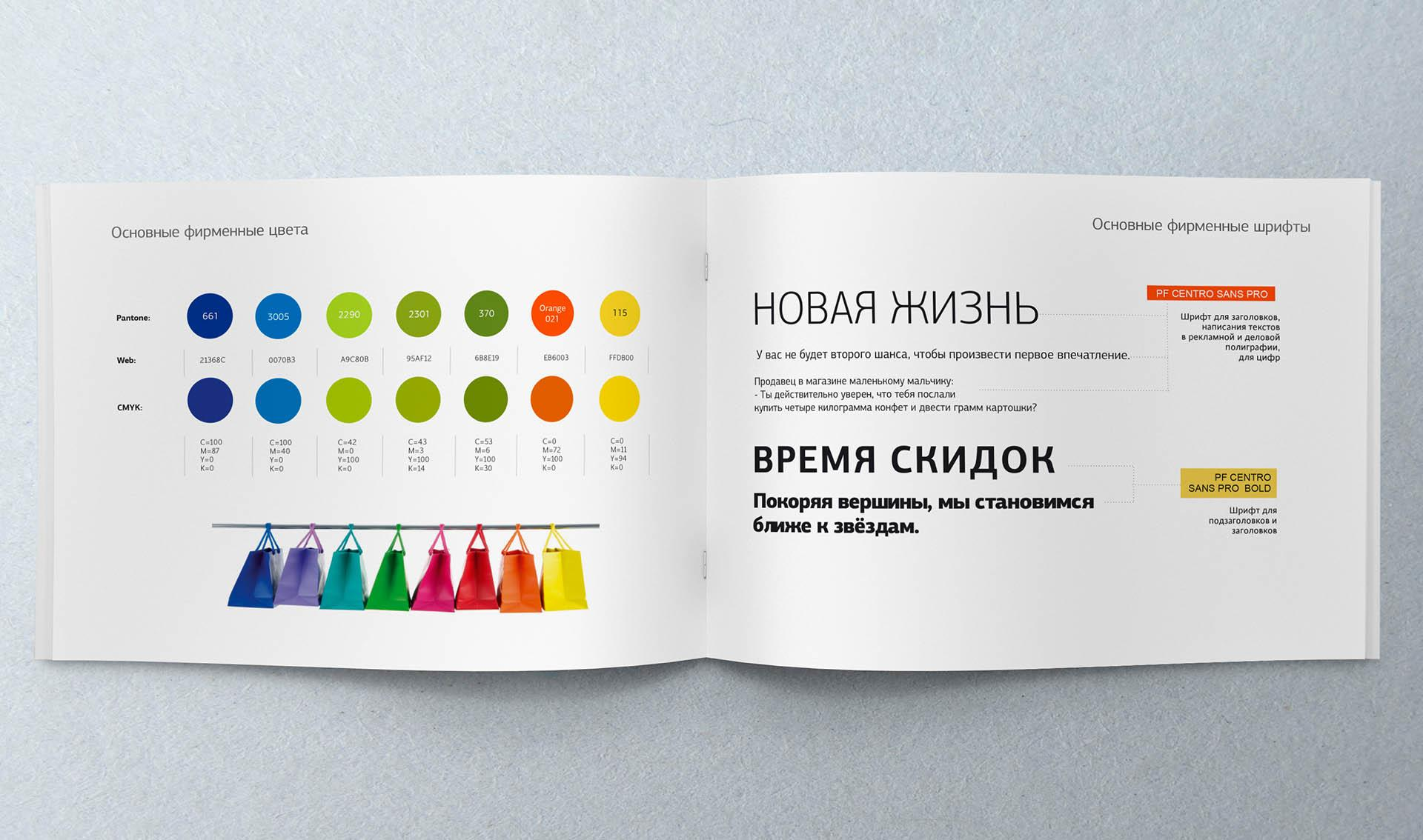 Design of the brand book of the shopping center