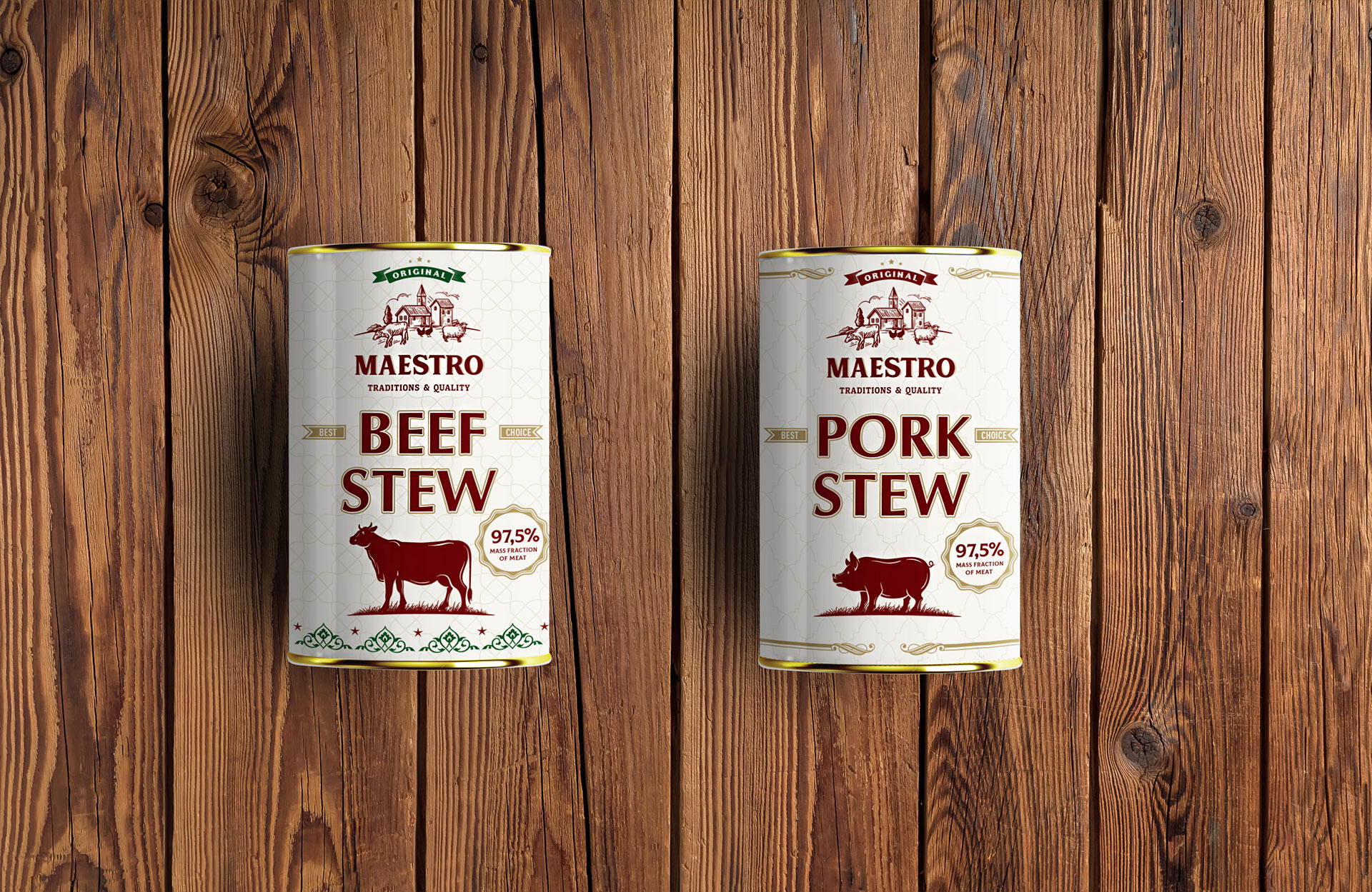 beef stew and pork stew design packaging
